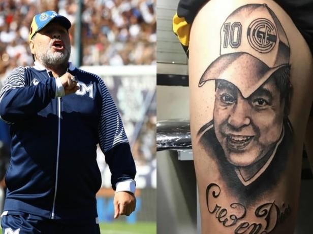 Gimnasia, il tifoso si tatua Maradona poco prima del suo addio