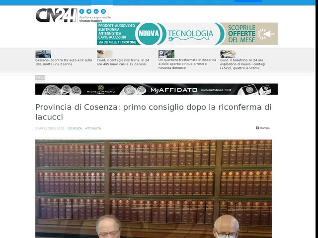 Provincia di Cosenza: primo consiglio dopo la riconferma di Iacucci