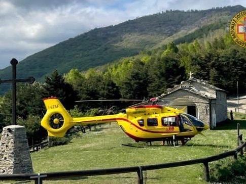 Pieve di Teco, motociclista da trial cade sul colle a Moano, intervento di Grifo e soccorso alpino