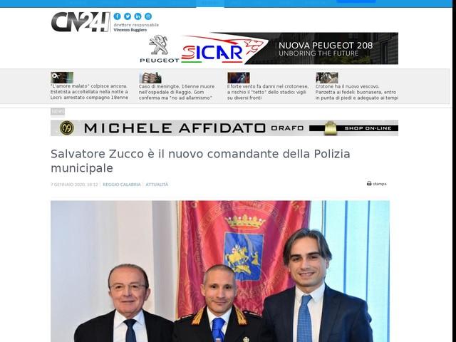 Salvatore Zucco è il nuovo comandante della Polizia municipale