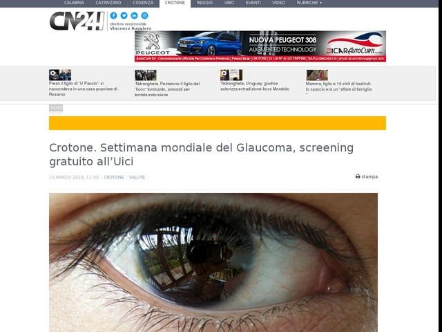 Crotone. Settimana mondiale del Glaucoma, screening gratuito all'Uici
