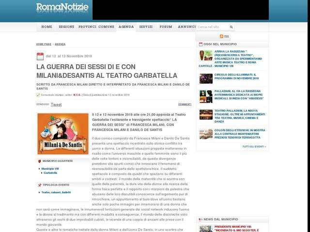 LA GUERRA DEI SESSI di e con Milani&DeSantis al Teatro Garbatella