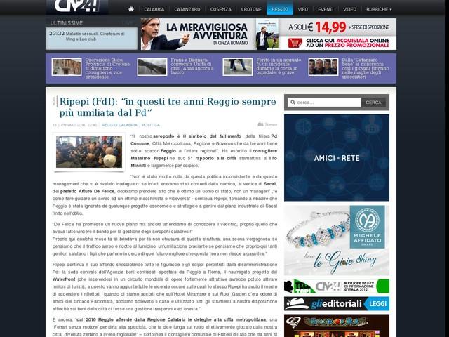"""Ripepi (FdI): """"in questi tre anni Reggio sempre più umiliata dal Pd"""""""