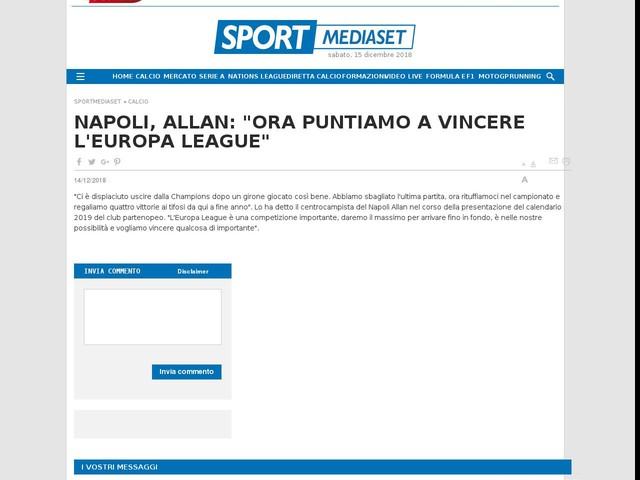 Europa League Napoli Calendario.Napoli Allan Ora Puntiamo A Vincere L Europa League