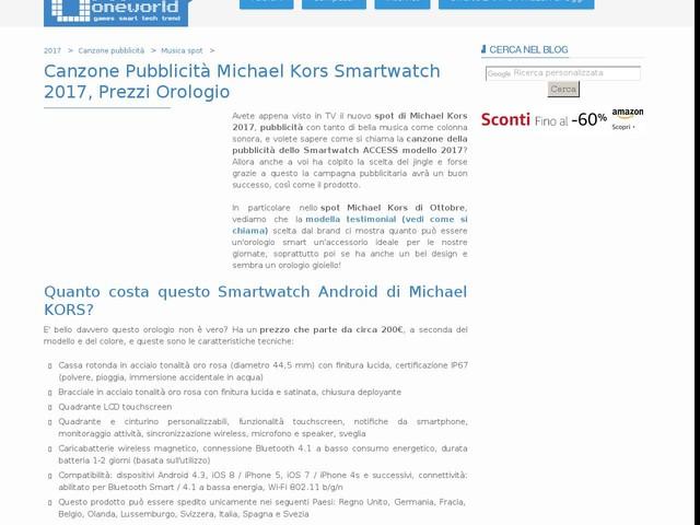 Canzone Pubblicità Michael Kors Smartwatch 2017, Prezzi Orologio