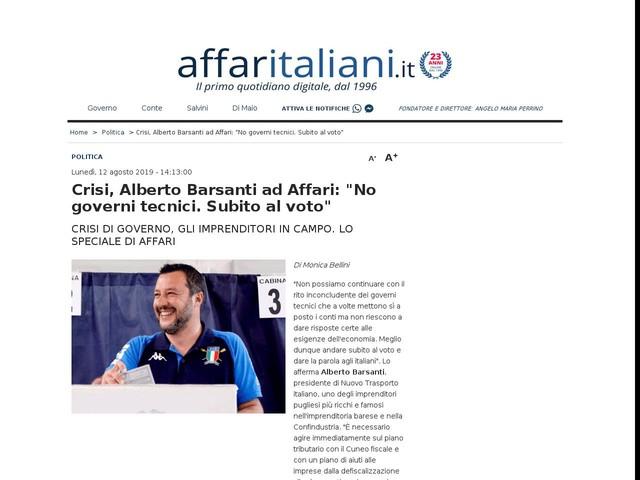 """Crisi, Alberto Barsanti ad Affari: """"No governi tecnici. Subito al voto"""""""