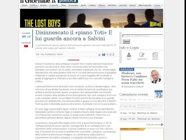 Disinnescato il «piano Toti» E lui guarda ancora a Salvini