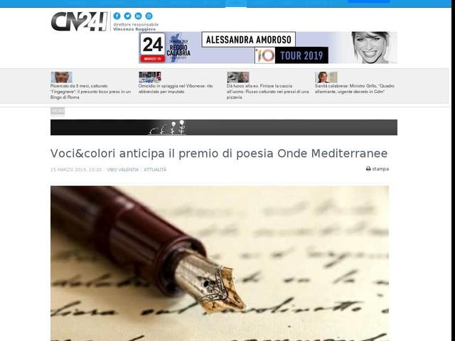 Voci&colori anticipa il premio di poesia Onde Mediterranee