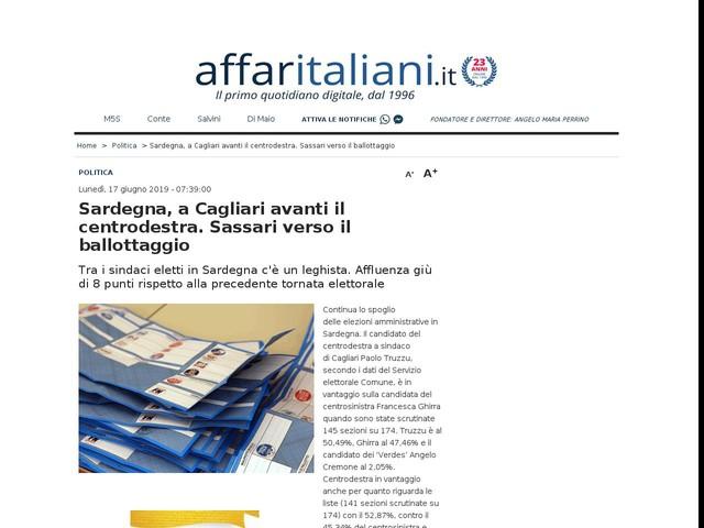 A Cagliari avanti il centrodestraSassari verso il ballottaggio