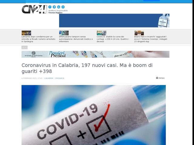 Coronavirus in Calabria, 197 nuovi casi. Ma è boom di guariti +398