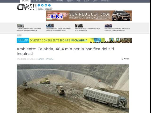 Ambiente: Calabria, 46,4 mln per la bonifica dei siti inquinati