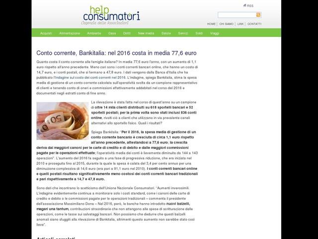 Conto corrente, Bankitalia: nel 2016 costa in media 77,6 euro