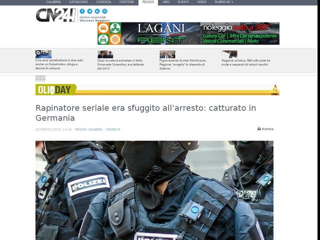 Rapinatore seriale era sfuggito all'arresto: catturato in Germania