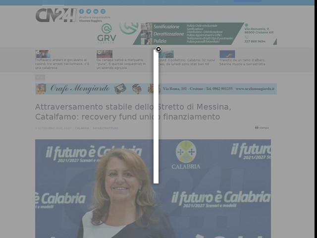 Attraversamento stabile dello Stretto di Messina, Catalfamo: recovery fund unico finanziamento