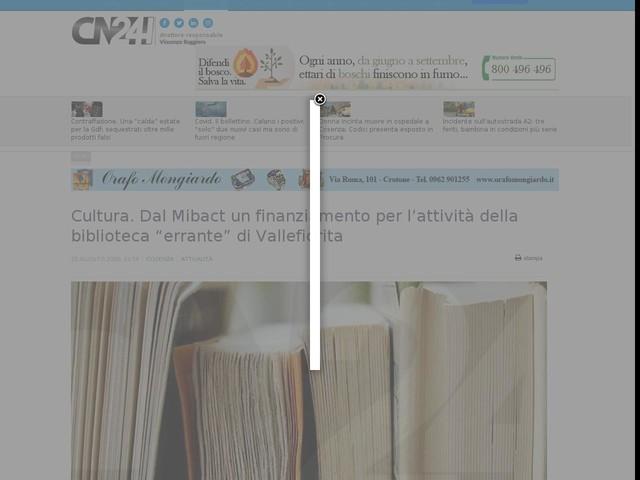 """Cultura. Dal Mibact un finanziamento per l'attività della biblioteca """"errante"""" di Vallefiorita"""