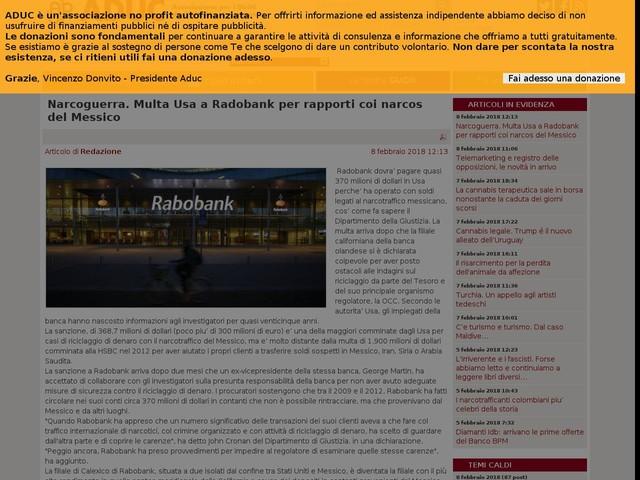 Narcoguerra. Multa Usa a Radobank per rapporti coi narcos del Messico