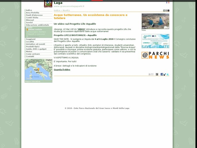 PN Gran Sasso - Acque Sotterranee. Un ecosistema da conoscere e tutelare