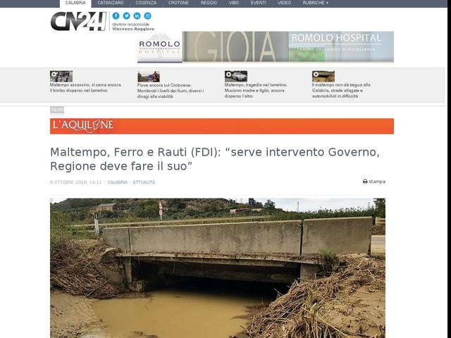 """Maltempo, Ferro e Rauti (FDI): """"serve intervento Governo, Regione deve fare il suo"""""""