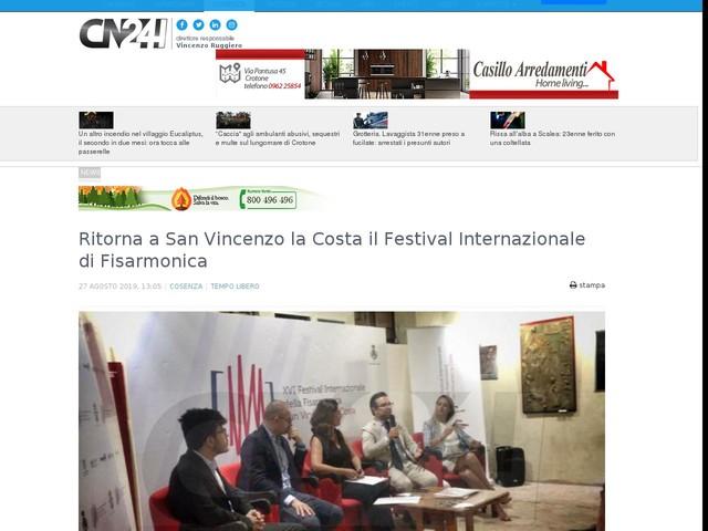 Ritorna a San Vincenzo la Costa il Festival Internazionale di Fisarmonica