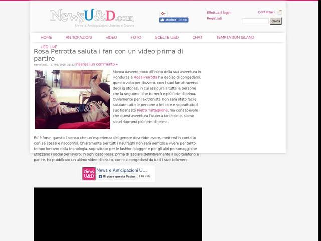 Rosa Perrotta saluta i fan con un video prima di partire