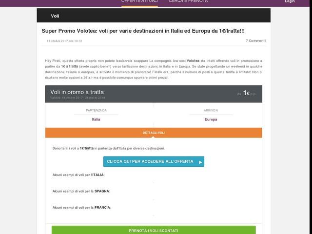 Super Promo Volotea: voli per varie destinazioni in Italia ed Europa da 1€/tratta!!!