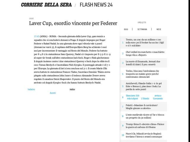 Laver Cup, esordio vincente per Federer