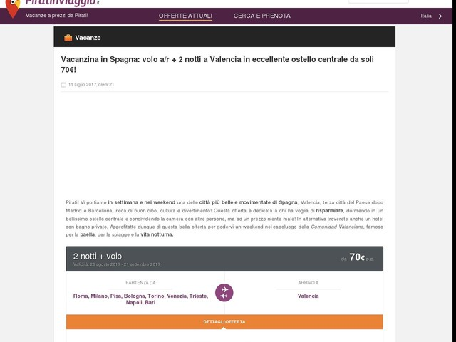 Vacanzina in Spagna: volo a/r + 2 notti a Valencia in eccellente ostello centrale da soli 70€!