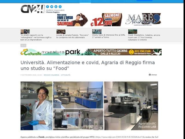 """Università. Alimentazione e covid, Agraria di Reggio firma uno studio su """"Food"""""""