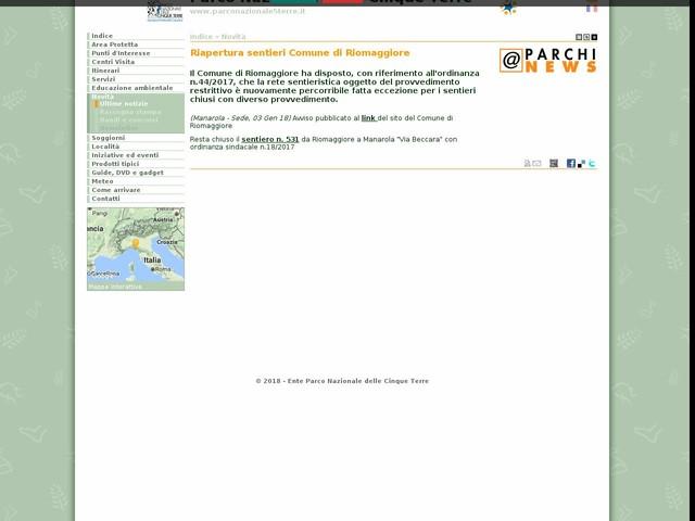 PN Cinque Terre - Riapertura sentieri Comune di Riomaggiore