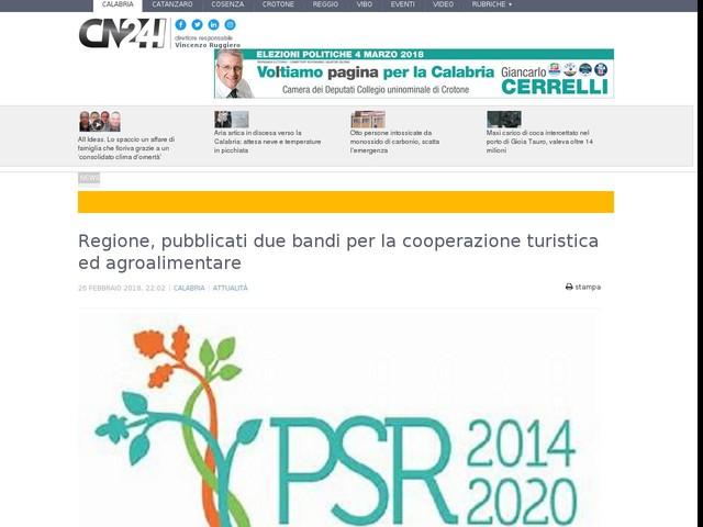 Regione, pubblicati due bandi per la cooperazione turistica ed agroalimentare