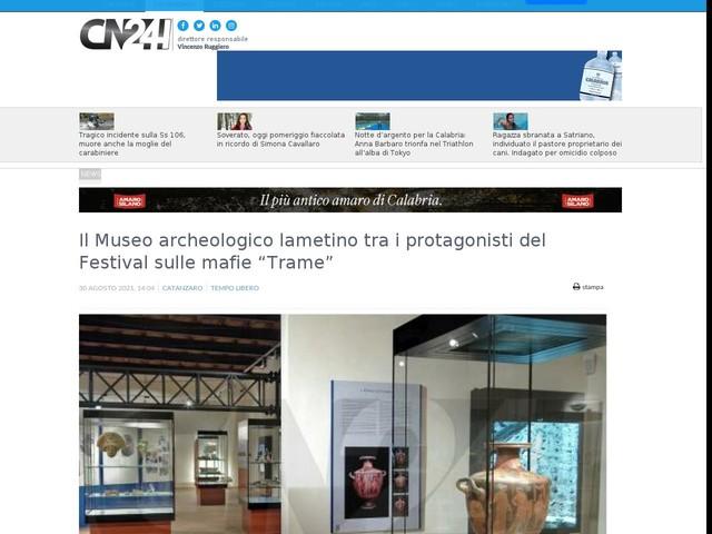 """Il Museo archeologico lametino tra i protagonisti del Festival sulle mafie """"Trame"""""""