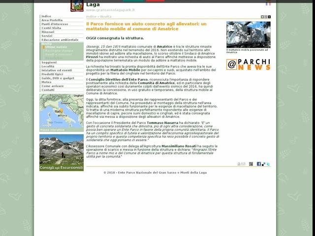 PN Gran Sasso - Il Parco fornisce un aiuto concreto agli allevatori: un mattatoio mobile al comune di Amatrice