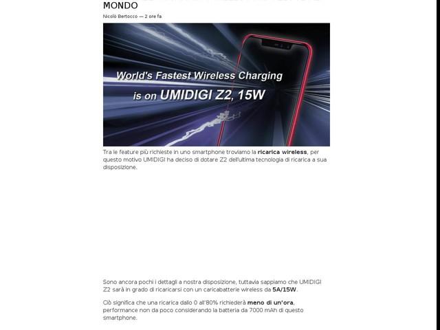 UMIDIGI Z2: ricarica wireless più veloce al mondo
