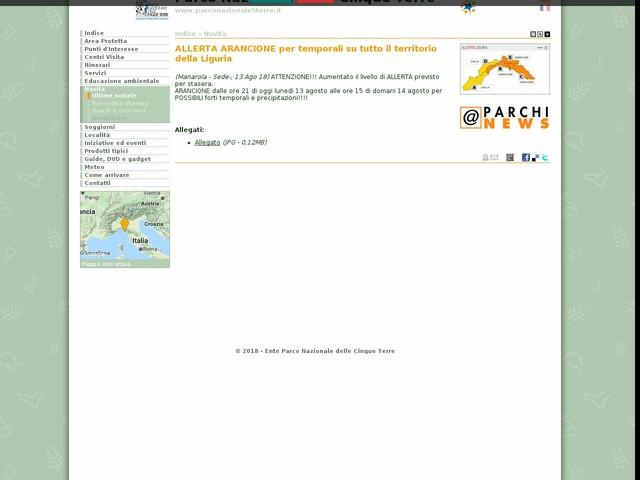 PN Cinque Terre - ALLERTA ARANCIONE per temporali su tutto il territorio della Liguria