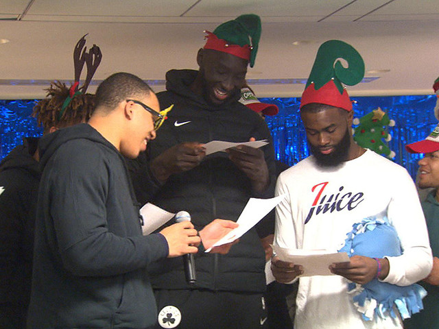 Celtics — Including Tacko Fall As An Elf — Spread Holiday Cheer At Boston Children's Hospital