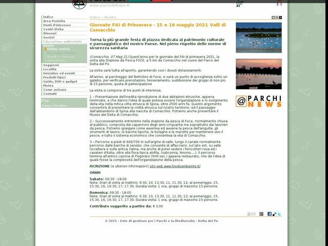 PR Delta Po ER - Giornate FAI di Primavera - 15 e 16 maggio 2021 Valli di Comacchio