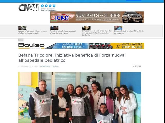 Befana Tricolore: iniziativa benefica di Forza nuova all'ospedale pediatrico