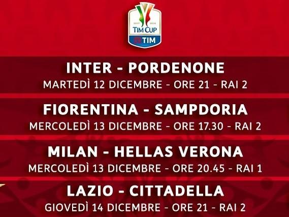 Coppa Italia 2017/2018: al via gli ottavi di finale con Inter-Pordenone. Ecco le partite