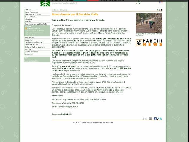 PN Val Grande - Nuovo bando per il Servizio Civile