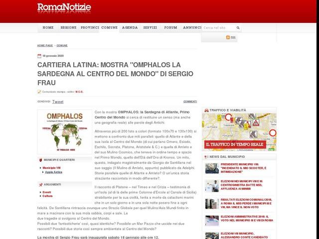 """CARTIERA LATINA: MOSTRA """"OMPHALOS LA SARDEGNA AL CENTRO DEL MONDO"""" DI SERGIO FRAU"""
