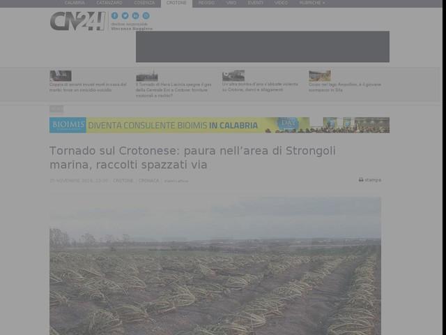 Tornado sul Crotonese: paura nell'area di Strongoli marina, raccolti spazzati via