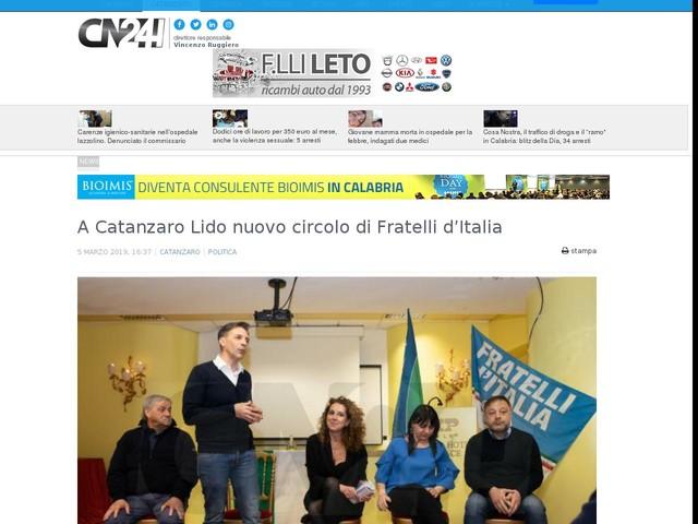 A Catanzaro Lido nuovo circolo di Fratelli d'Italia