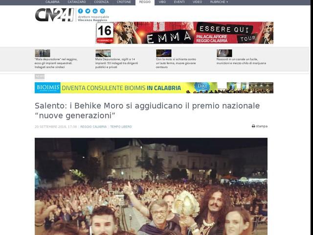 """Salento: i Behike Moro si aggiudicano il premio nazionale """"nuove generazioni"""""""