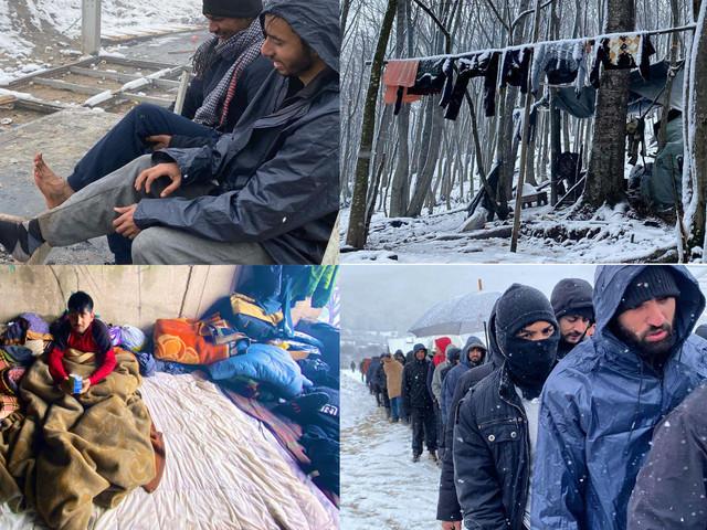 Tende, fango e freddo: le terribili condizioni di migliaia di migranti bloccati in Bosnia nella speranza di poter raggiungere l'Unione Europea
