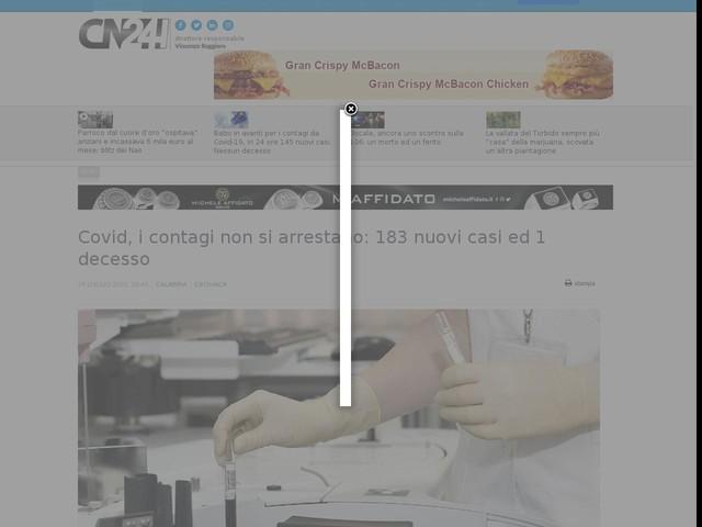 Covid, i contagi non si arrestano: 183 nuovi casi ed 1 decesso