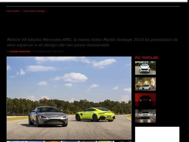 Aston Martin Vantage 2018: svelata la nuova supercar inglese, scheda tecnica e prezzi [FOTO]