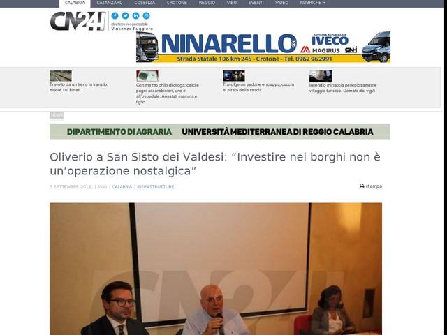 """Oliverio a San Sisto dei Valdesi: """"Investire nei borghi non è un'operazione nostalgica"""""""