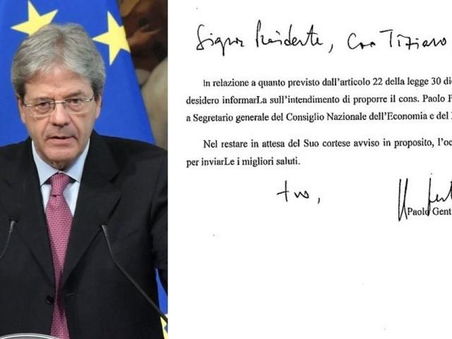 """Gentiloni vuole l'ex sottosegretario di Monti a Segretario generale del Cnel. La destra attacca: """"Lottizzazione a Camere sciolte"""""""