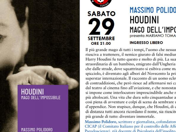 "houdini polidoro  29/09/2018, Torino (TO), Massimo Polidoro presenta ""Houdini, Mago ..."
