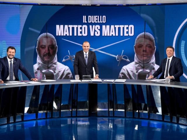 """In onda il """"duello dei Mattei"""": la sfida tv tra Renzi e Salvini"""